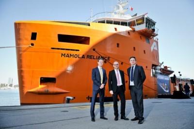 Polaris directors Sam and Ben Pinnington with Promar COO Christophe Mansuy