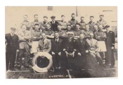 James Troop, who ran the company between 1907 and 1954, aboard the Cunard liner, the Queen Elizabeth, leaving Liverpool for America in 1948 with players from Liverpool Football Club, of which James was a company director.
